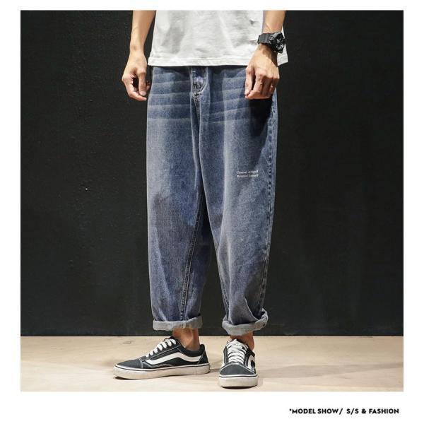 デニムパンツ メンズ ワイド ゆったり 涼しいズボン ボトムス イージーパンツ デニム ジーパン メンズファッション yoshikootory 07