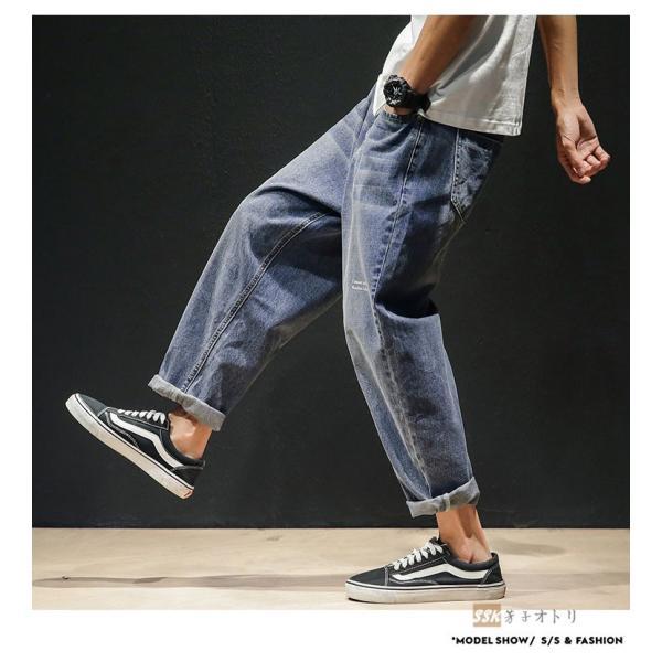 デニムパンツ メンズ ワイド ゆったり 涼しいズボン ボトムス イージーパンツ デニム ジーパン メンズファッション yoshikootory 10
