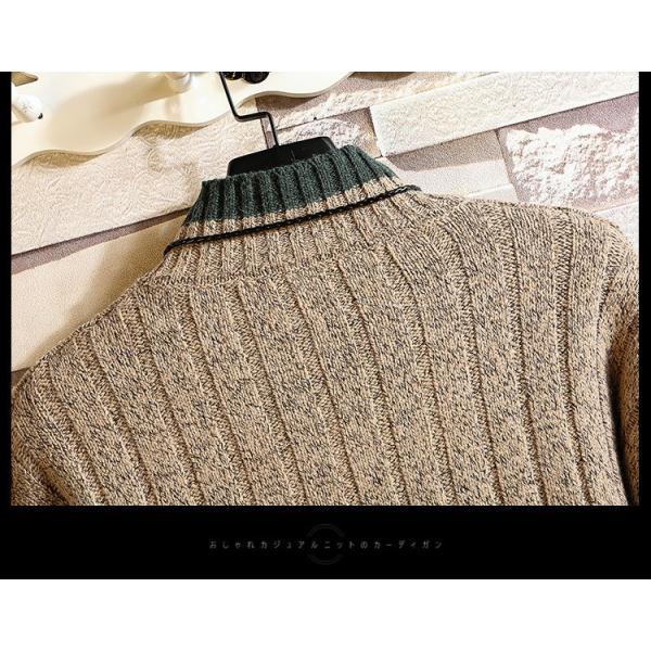 ニット メンズ モックネック ニットセーター リブ編み セーター トップス 秋冬 あったか ルームウェア|yoshikootory|12
