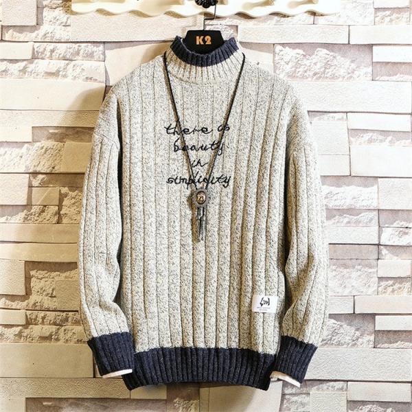 ニット メンズ モックネック ニットセーター リブ編み セーター トップス 秋冬 あったか ルームウェア|yoshikootory|04