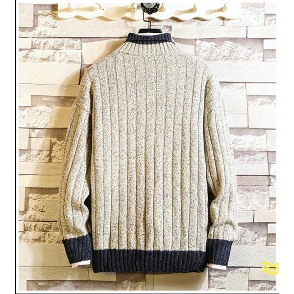 ニット メンズ モックネック ニットセーター リブ編み セーター トップス 秋冬 あったか ルームウェア|yoshikootory|05