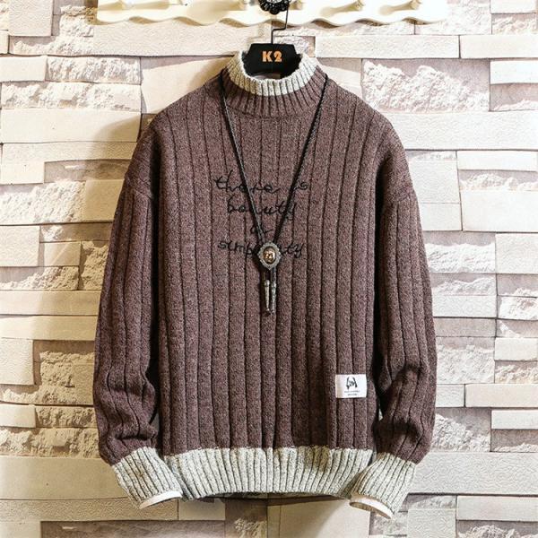 ニット メンズ モックネック ニットセーター リブ編み セーター トップス 秋冬 あったか ルームウェア|yoshikootory|06