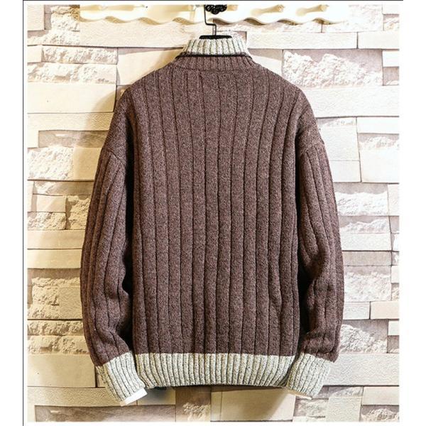 ニット メンズ モックネック ニットセーター リブ編み セーター トップス 秋冬 あったか ルームウェア|yoshikootory|07
