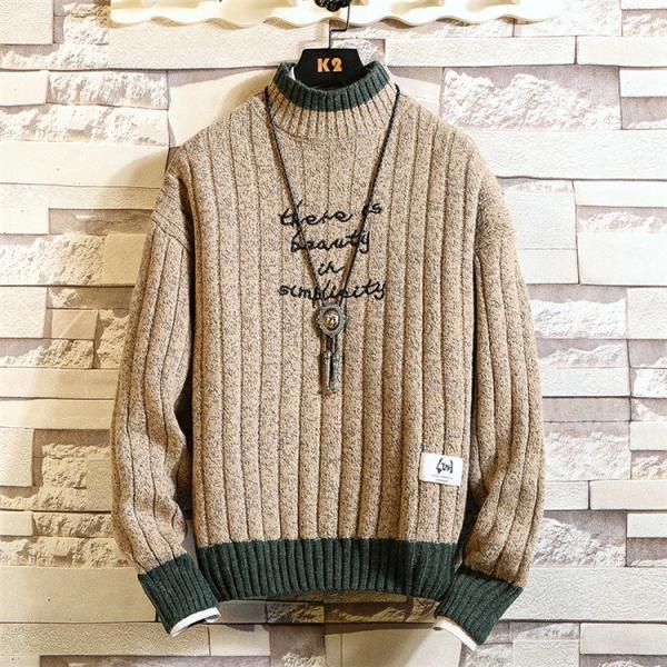 ニット メンズ モックネック ニットセーター リブ編み セーター トップス 秋冬 あったか ルームウェア|yoshikootory|08