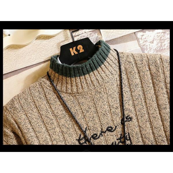 ニット メンズ モックネック ニットセーター リブ編み セーター トップス 秋冬 あったか ルームウェア|yoshikootory|10