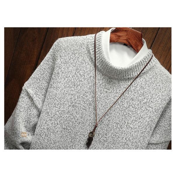 ニット メンズ ニットセーター リブ編み セーター トップス 長袖セーター クルーネック 秋物 秋冬 あったか|yoshikootory|10