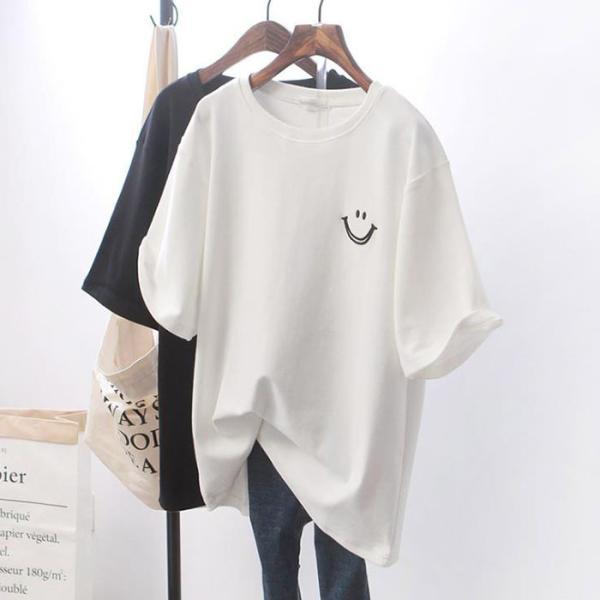Tシャツレディース半袖クルーネックカットソー大きいサイズトップスカジュアルゆったり無地英字体型カバールームウェアアウトドア春夏2