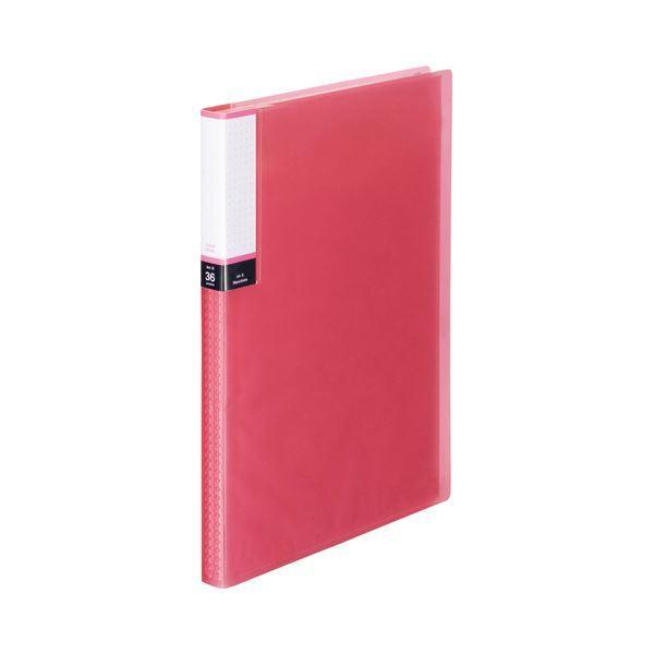 (まとめ) TANOSEE クリアブック(透明表紙) A4タテ 36ポケット 背幅20mm ピンク 1セット(10冊) 〔×3セット〕