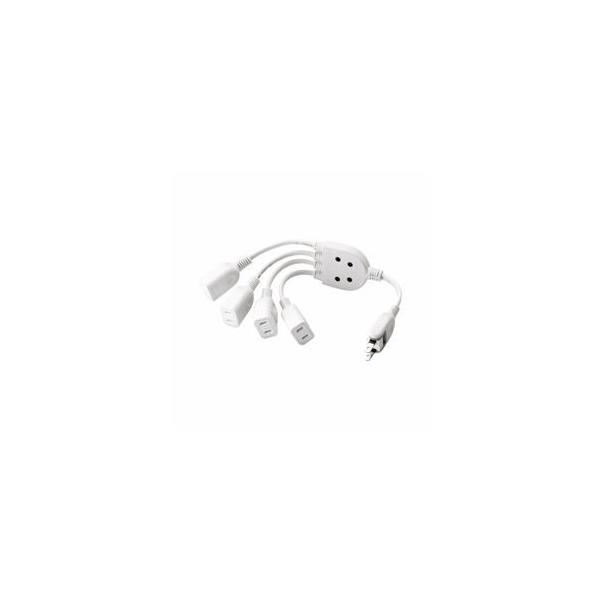 (まとめ)エレコム ACアダプタ用電源延長コード(4個口) T-ADR4WH〔×3セット〕
