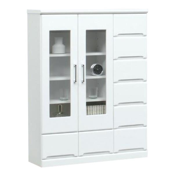 ミドルキャビネット(リビングボード/収納棚) 〔幅90cm〕 可動棚付き 日本製 ホワイト(白) 〔Creap4〕クリープ4 〔完成品 開梱設置〕〔代引不可〕