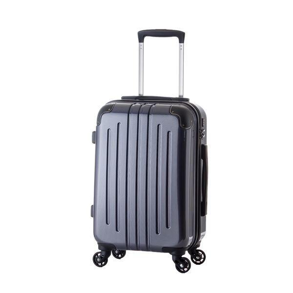 軽量スーツケース/キャリーバッグ 〔カーボンネイビー〕 61L 3.8kg ファスナー 大型キャスター TSAロック