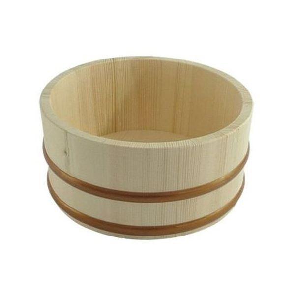 木製 湯桶/風呂桶 〔小〕 タガ:樹脂製 〔バス用品 お風呂グッズ〕