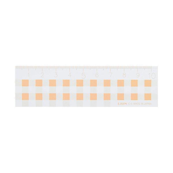 (まとめ)ライオン事務器 ギンガムチェック定規10cm オレンジ C-3 1本〔×30セット〕