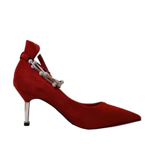 〔フーレエル〕(K6102)アンクレット風パンプス 足が綺麗に見えるカットデザイン 24.5cm 紅