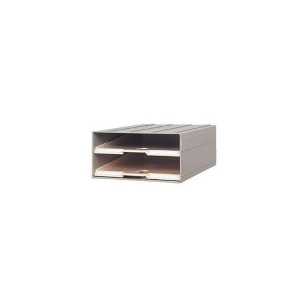 (まとめ)サカセ化学工業 ビジネスカセッターカタログトレー A4 2段 グレー A4-2 1台〔×3セット〕