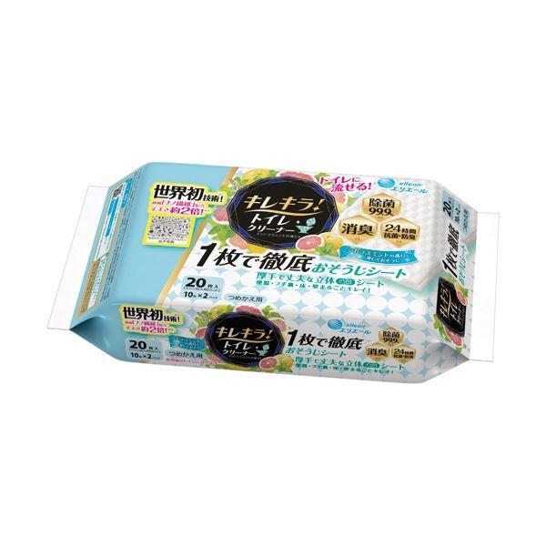 (まとめ)大王製紙 エリエール キレキラ シトラスミントの香り つめかえ用 1パック(20枚)〔×20セット〕