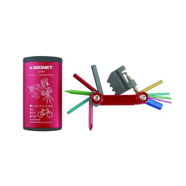 SIGNET シグネット バイク用マルチツールセット フォールディングツール カラーケース付 レッド 22080