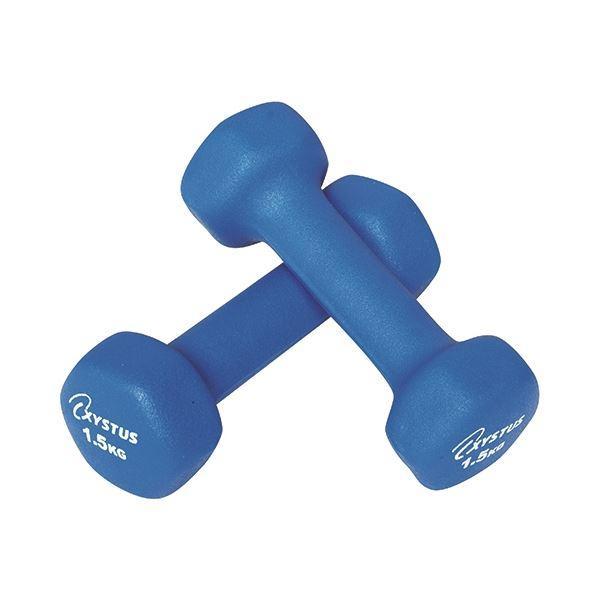 (まとめ) ラバーコートダンベル 1.5kg ブルー 〔×2セット〕