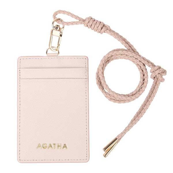 AGATHA(アガタ)AGT211-324 レザー仕様のネックストラップ付カードケース アイボリー