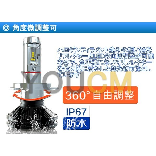 [車検対応]ZESチップ LEDヘッドライト H4 Hi/Lo オールインワン一体型 6000LmX2 細い発光 角度調整機能 DC 12v/24v [YOUCM][2年保証] youcm 05