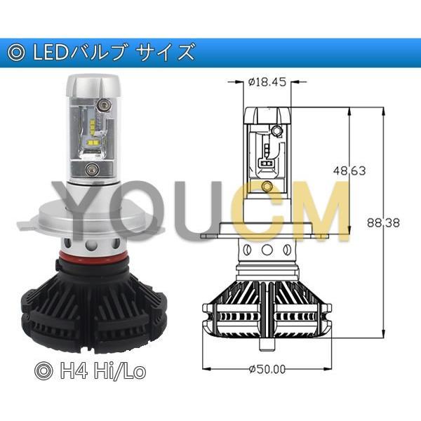 [車検対応]ZESチップ LEDヘッドライト H4 Hi/Lo オールインワン一体型 6000LmX2 細い発光 角度調整機能 DC 12v/24v [YOUCM][2年保証] youcm 08