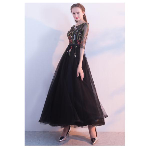 4d5c3b44803447 ... パーティードレス ブラック 刺繍 ロングドレス 演奏会 ピアノ 結婚式 ドレス 袖あり ウェディングドレス ...