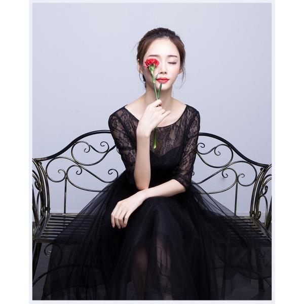 パーティードレス  ロングドレス 結婚式 ドレス ワンピース 袖あり 二次会 ドレス ウエディングドレス フォーマルドレス お呼ばれ ミモレドレス 大きいサイズ|youdear|03