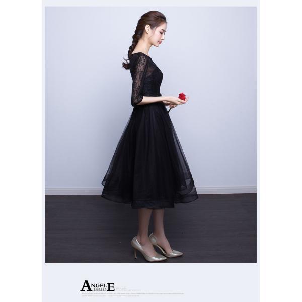 パーティードレス  ロングドレス 結婚式 ドレス ワンピース 袖あり 二次会 ドレス ウエディングドレス フォーマルドレス お呼ばれ ミモレドレス 大きいサイズ|youdear|05