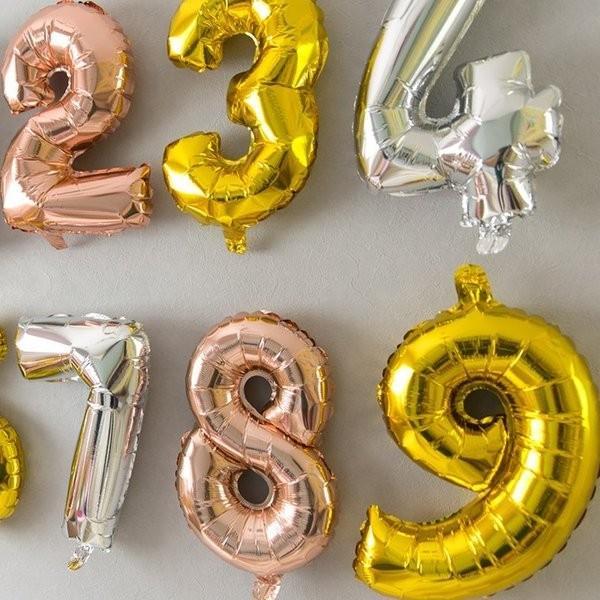 誕生日 バルーン 数字 ナンバーバルーン 40cm ゴールド シルバー ローズゴールド  風船  (メール便送料無料) ycm|youplus-corp|04