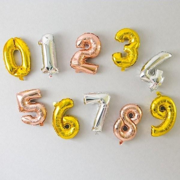 誕生日 バルーン 数字 ナンバーバルーン 40cm ゴールド シルバー ローズゴールド  風船  (メール便送料無料) ycm|youplus-corp|05