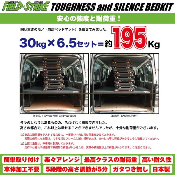 ハイエース ベッドキット ラゲージ用 200系 DX 3/6人用 4ドア ヒーター有 1-5型対応 [パンチカーペットタイプ/ダークグレー] Field Strike|yourparts|05