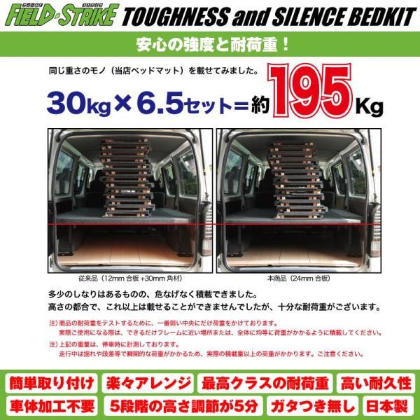 ハイエース ベッドキット ロングサイズ 200系 DX 3/6人用 5ドア ヒーター無 1-5型対応 長さ2600mm [パンチカーペットタイプ/ダークグレー] Field Strike yourparts 06