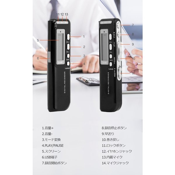 ボイスレコーダー 4GB ICレコーダー 電池式 USB 録音機 小型 高音質 mp3プレーヤー としても 長時間録音 電話録音 軽量 簡単操作|youtatsu|14