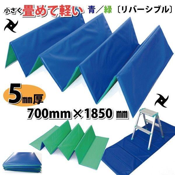 サッと広げてサッと畳める クッションマット忍者 青・緑