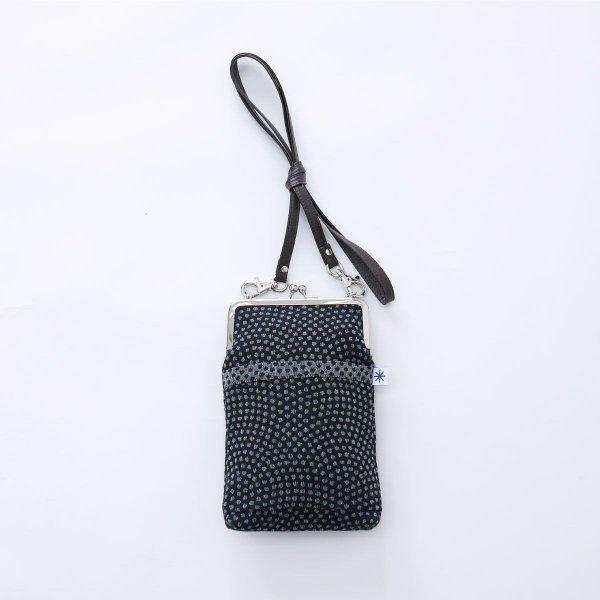 がま口ポシェット(鮫小紋柄)日本製 綿100% ジャカード織 伝統 米沢織 米織 小紋柄 和柄 和装 お着物 旅行 斜め掛け ドット|yozando-y