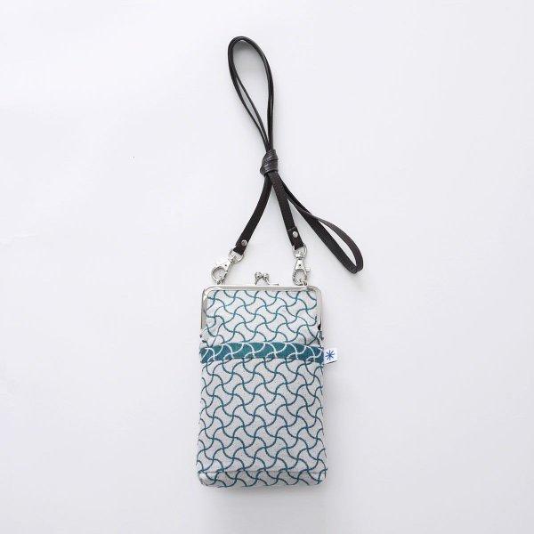 がま口ポシェット(分銅つなぎ柄)日本製 綿100% ジャカード織 伝統 米沢織 米織 小紋柄 和柄 和装 お着物 旅行 斜め掛け 宝尽くし|yozando-y