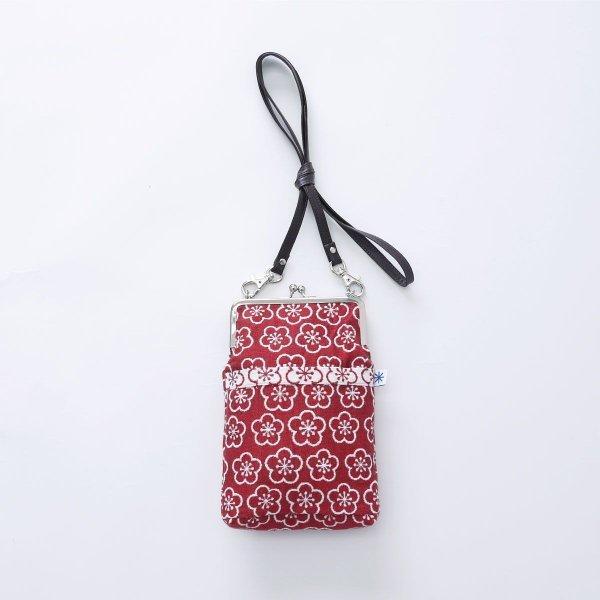 がま口ポシェット(梅柄)日本製 綿100% ジャカード織 伝統 米沢織 米織 小紋柄 和柄 和装 お着物 旅行 斜め掛け 松竹梅 紅白|yozando-y