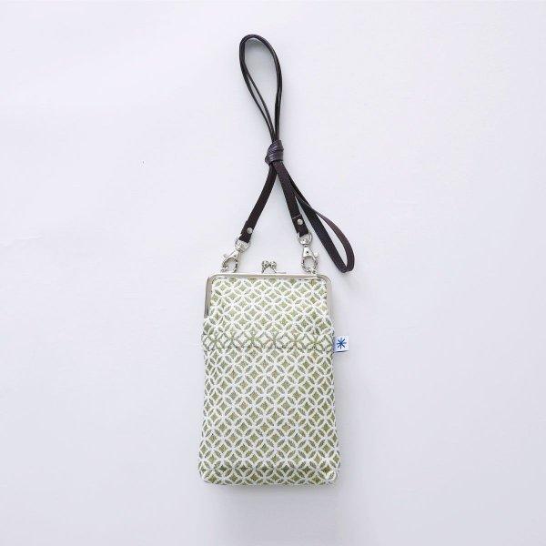 がま口ポシェット(七宝柄)日本製 綿100% ジャカード織 伝統 米沢織 米織 小紋柄 和柄 和装 お着物 旅行 斜め掛け|yozando-y