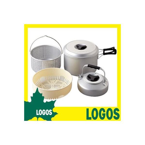 アウトドアクッキング ロゴス LOGOS パスタクック5 鍋 ケトル やかん ヤカン ザル セット アルミ 収納 手軽 食器 コンパクト|ys-prism