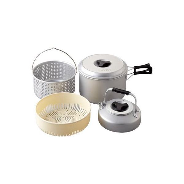 アウトドアクッキング ロゴス LOGOS パスタクック5 鍋 ケトル やかん ヤカン ザル セット アルミ 収納 手軽 食器 コンパクト|ys-prism|04