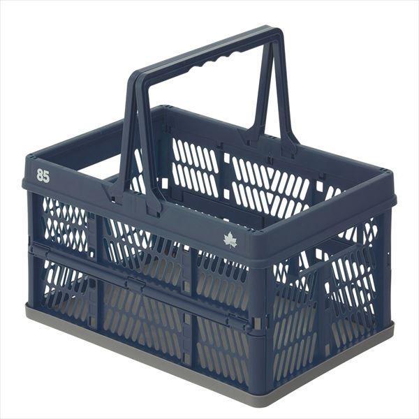 パタントキャリーバスケット(ネイビー) バスケット 収納ボックス 収納box アウトドア LOGOS ロゴス おしゃれ 軽量 ブルー 青 折り畳み式 折りたたみ式|ys-prism|02