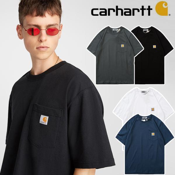 カーハートCarhartttシャツロンtメンズレディースおしゃれ半袖Tシャツカップル服LOGO刺繍無地大きいサイズ