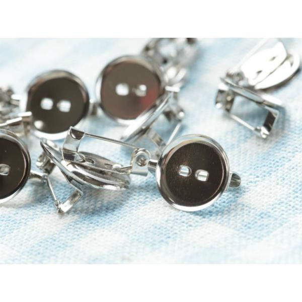 台座付きブローチピン 約20個 小 凹 1.3cm 13mm コサージュピン ブローチ台 ブローチ金具 ピン付き 台付き シルバー silver 銀