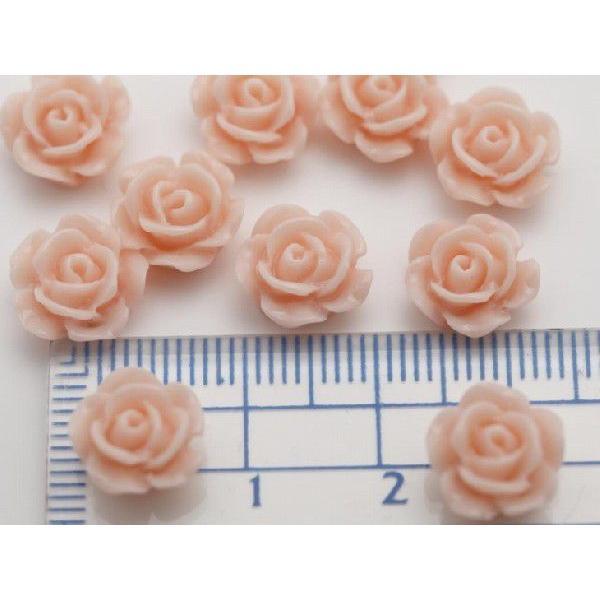 フラワーカボション バラ10個 10mm コーラルピンク 1cm 1つ穴 お花 花 ハンドメイド手芸用品 アクセサリーパーツ 通し穴付き パーツ