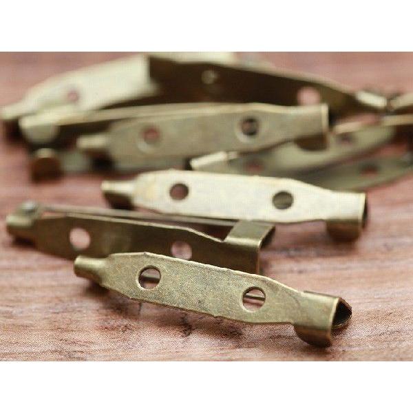 ブローチピン(約3cm)10個セット 金古美 2つ穴 ブローチ金具 造花ピン コサージュピン  手芸材料 基礎金具 素材