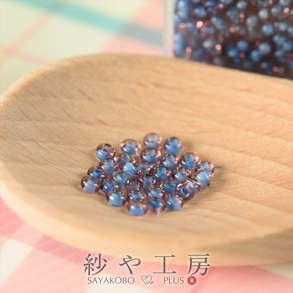 ビーズ 丸小ビーズ col.10/216 ブルー&パープルクラッシュ 2mm ブルー&パープル 10g 約0.2cm 丸ビーズ ツートーン 透明プラケース入
