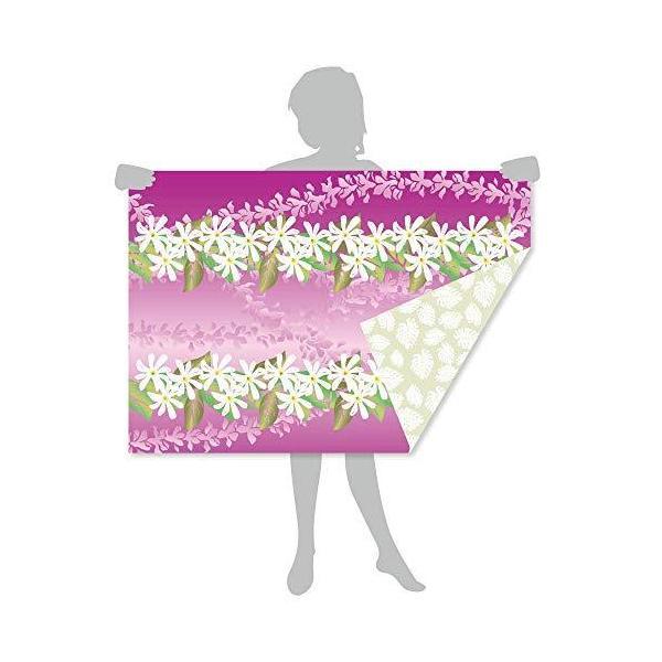 「サラッとドライ ハワイアンバスタオル」 レイ パープル 光触媒マイクロファイバー 90cm×130cm アスカタオル 抗菌・消臭タオル 1SP-REI-
