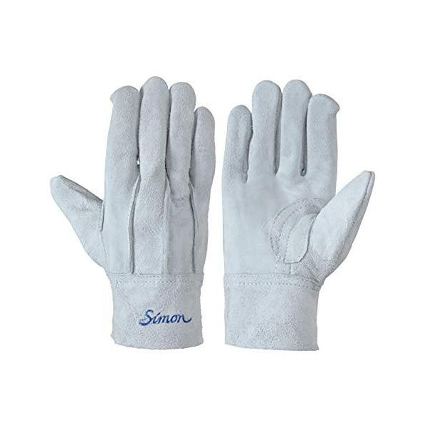 シモン 107AP 銀当付 牛床革銀当付背縫い皮手袋 フリーサイズ 10双組
