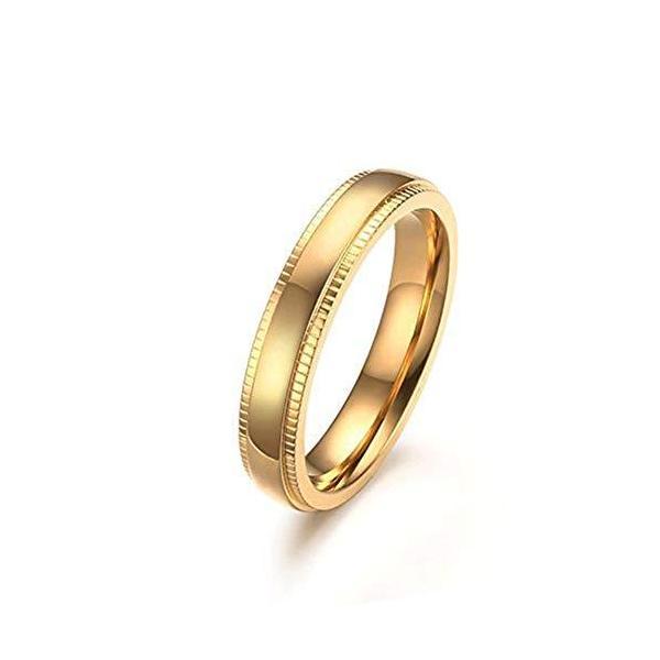 Rockyu ジュエリー 人気 ブランド ハワイアンジュエリー リング メンズ シンプル ゴールド 指輪 22号 4mm