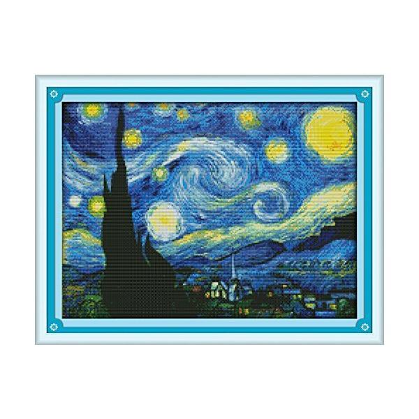 クロスステッチ刺繍キット 世界的に有名な絵画 ゴッホ ピカソの作品 図柄印刷 初心者 ホームの装飾 (ゴッホ 《星空》)